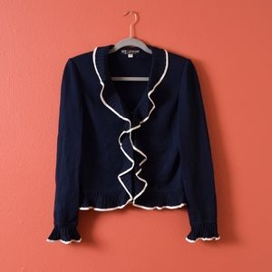 St. John Basics Navy  Ruffled Trim knit Cardigan 6